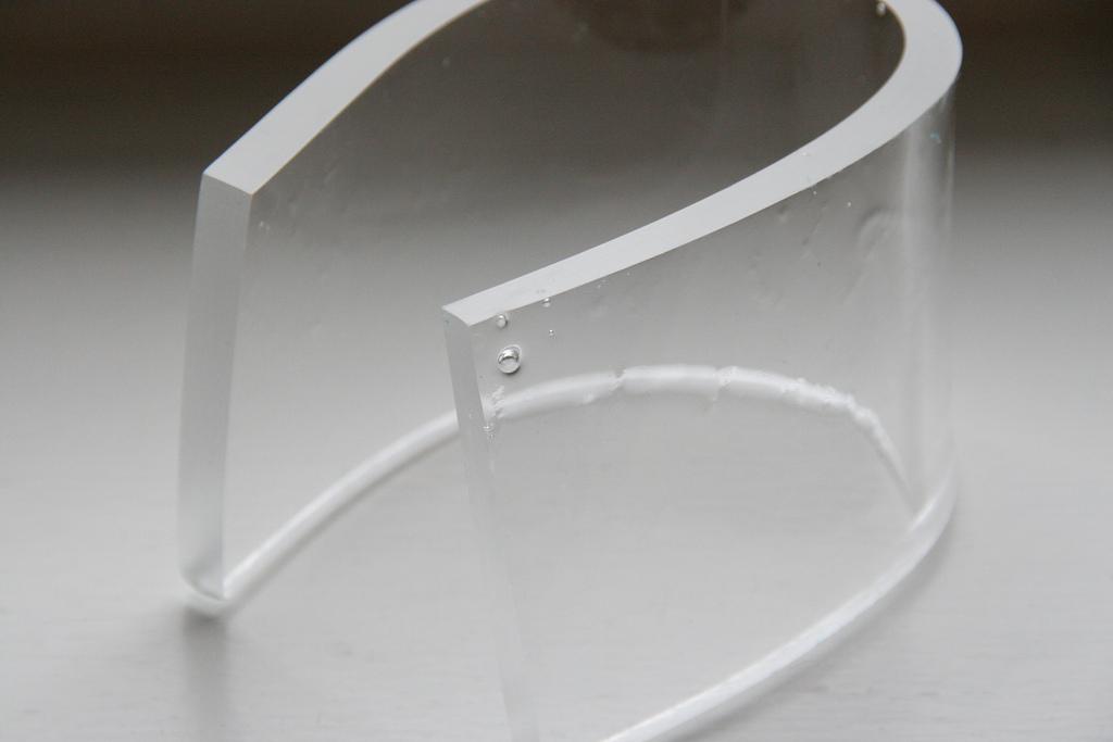 a bent piece of plexiglass