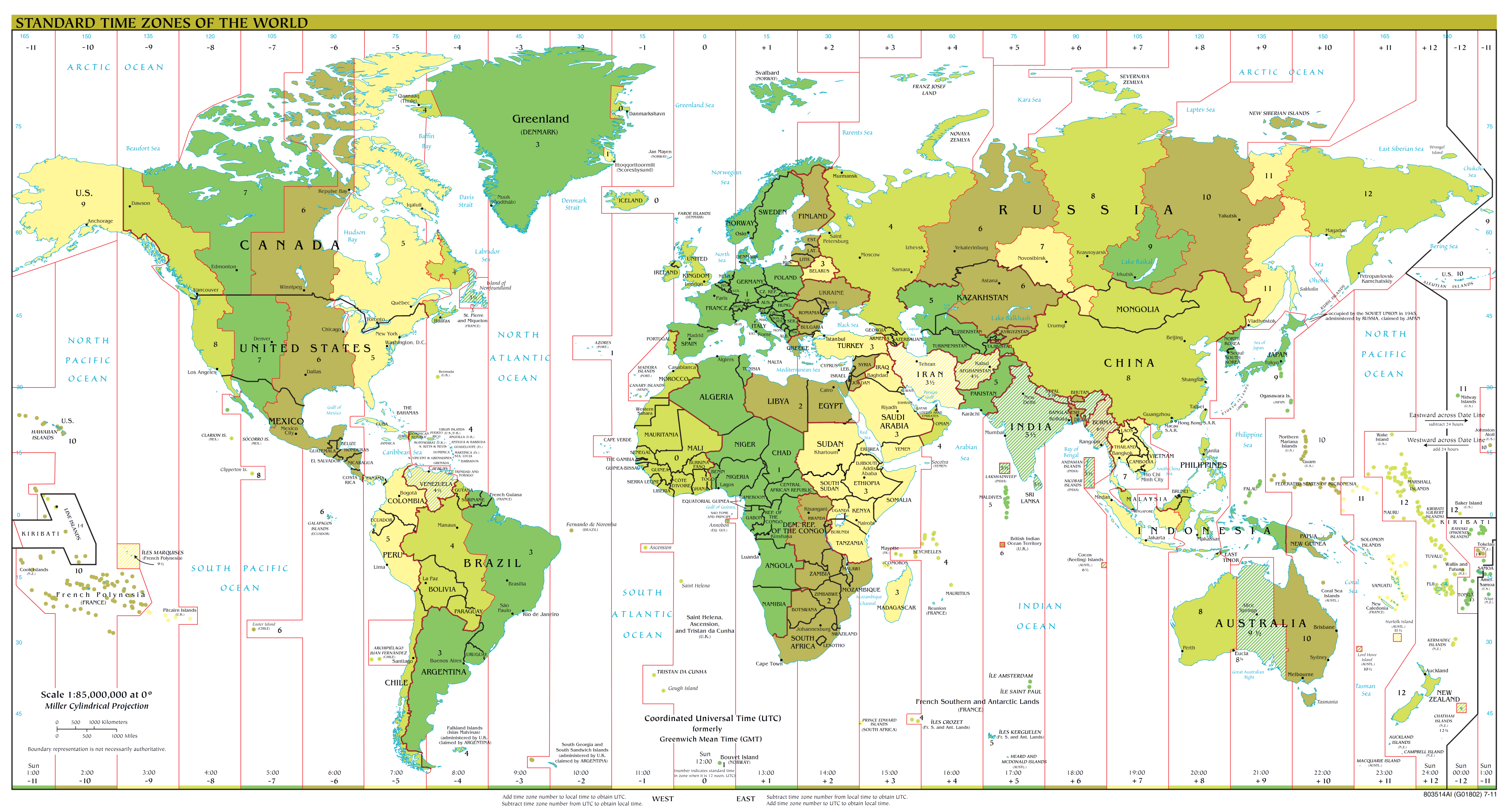 Map of the world, with the time zones outlined and sectioned off
