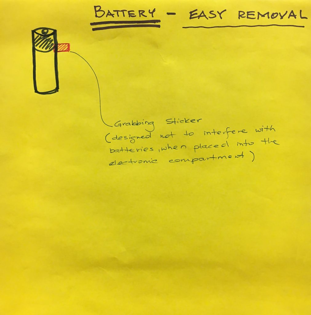 An easy removal solution using a grabbing sticker. It is designed not to interfere with batteries when placed into an electronic compartment